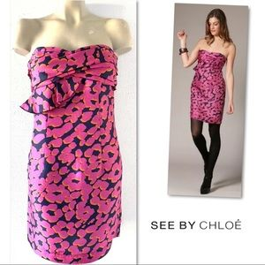 SEE BY CHLOE SILK NAVY PINK STRAPLESS DRESS 8